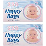 4 my Baby Nappy Bags with Tie Handles and 250 Sheets - Pack of 2