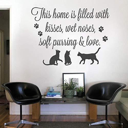 guijiumai Vinyl Schriftzug Wandaufkleber Haustiere Zitat Aufkleber Dekoration Wohnzimmer Dieses Haus ist gefüllt mit Katzen Wandtattoo Poster schwarz 56x42 cm - Kleine Haustier Taxi