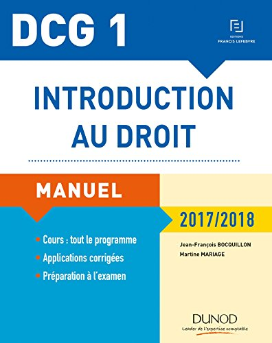 DCG 1 - Introduction au droit 2017/2018 - 11e éd. - Manuel