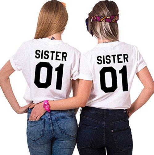 Heiße Mädchen T-shirt (Best Friends T-shirt Damen Half Heart Pattern Sommer Tops Mädchen Kurzarm 2 Stücke (Sister-S+S, Weiß-sister))