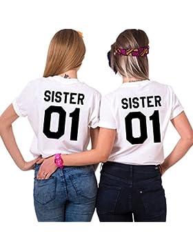 Mejores Amigas Camiseta Best Friend T-Shirt Impresión Sister 01 100% Algodón 2 Piezas Camisa Hermana Manga Corta...