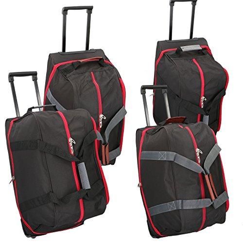 JEMIDI Reisetasche mit 2 Rollen 70 Liter ca. 2,1kg Reise Tasche Reisetrolley Trolley Blau/Schwarz Rot/Schwarz