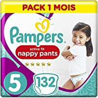 PAMPERS Premium Protection Pants tamaño 5, 132 Pañales, 1 mes Box