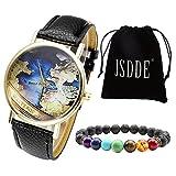 JSDDE Uhren Set Retro Weltkarte Karte Armbanduhr + Lava 7 Stein Armband mit Geschenk Samtbeutel