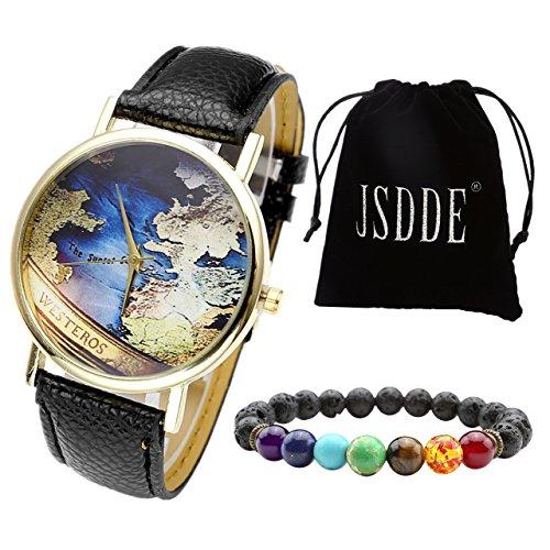 JSDDE Set scheda di retro mappa del mondo orologio da polso + Lava 7pietra braccialetto con sacchetto in velluto
