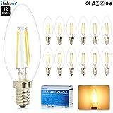 ELINKUME 12X E14 Kerze Glühfaden LED Lampe ersetzt 45 Watt , 4W 450 Lumen 2800-3200K warmweiß Filament Fadenlampe 360° 230V AC, nicht dimmbar, 1 Jahre Garantie