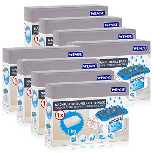 8x Wenko Nachfüllpackung Feuchtigkeitskiller Raum-Entfeuchter, 1kg Granulat