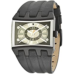 Police Dimension Men's Quartz Watch with Grey Dial Analogue Display and Black Leather Strap 13420JSB/02A