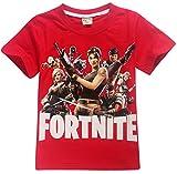 EMILYLE Jungen T-Shirt Fortnite Kinder Videospiele Fans Sommer Geek Battle PVP Multiplayer Kurzarm Top Teen Rundhalsausschnitt Tees (160cm (12-14 Jahre alt), Rot)