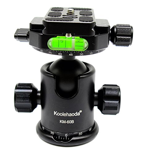 koolehaoda Profi-Kugelkopf Doppelter Panoramakopf mit Schnellwechselplatte Zum Kamerastativ, Maximale Belastung: 15KG (KM-60B Panoramakopf) (Stativkopf Panorama-rotator)
