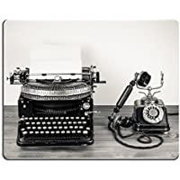 Jun XT Mousepads Vintage máquina de escribir y teléfono antiguo estilo Sepia fotografía imagen 20151845 arte