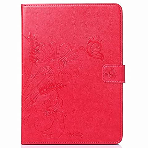 Yiizy(TM) Apple Ipad Air / Ipad 5 Case, Flower Style Premium Leather Slim Fit Standing Protective Cover Credit Card Slots Pockets Magnetic Strap Wallet Pouch Flip Cover Case (Rose Rouge)