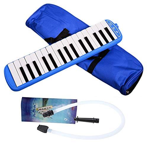 nbvmngjhjlkjl 32 Tasten Melodica Musikinstrument Keyboard Case Mundharmonika mit Tragetasche Blasrohr Mundharmonika für Musikliebhaber Anfänger - Blau (Mundharmonika-tragetasche)