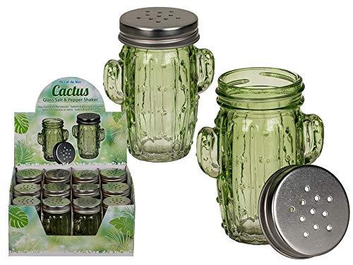 OOTB Salz & Pfefferstreuer 2er Set im modernem Kaktus Design aus Glas mit Metallschraubverschluss - Kaktus Salz