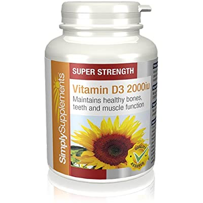 Vitamin D3 2000iu | 360 Tablets | Bones Immunity Brain | 100% money back guarantee | Manufactured in the UK by SimplySupplements