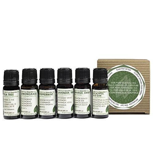 Naissance Aceites Esenciales 100 % Puros Set Regalo – Aceites esenciales top 6: lavanda, naranja dulce, lemongrass, menta, árbol de té y eucalipto