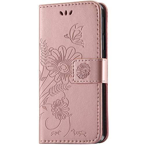 Honor 6X Hülle, kazineer Leder Tasche Handyhülle für Huawei Honor 6X Schutzhülle Blume Muster Etui Schale Case (Pink-gold)