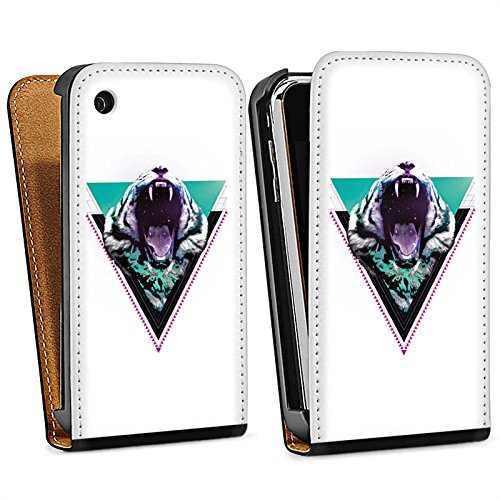 Apple iPhone 5s Housse Étui Protection Coque Tigre des neiges Triangle Triangle Sac Downflip noir