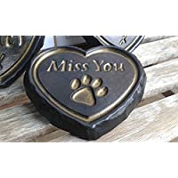 """Miss You"" Black & Gold Pet Paw ENGRAVED STONE Heart Memorial Garden Plaque Dog, Cat, Horse"