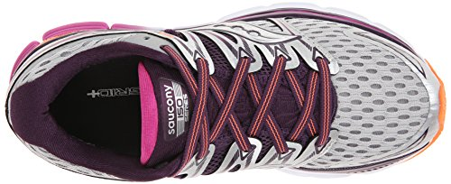 Saucony Womens Triumph ISO Running Shoe Silver/Purple/Orange