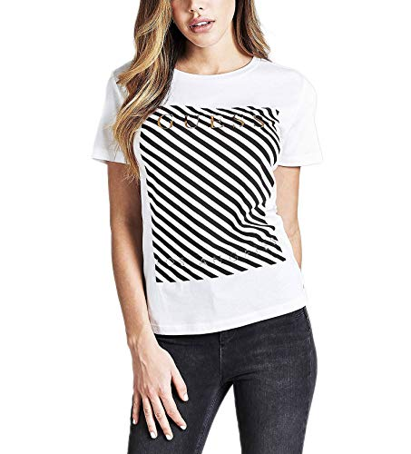 Guess Stripes T-Shirts & Poloshirts Damen Weiss - S - T-Shirts