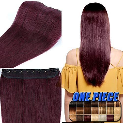 Remy Haarteile (Clip in Extensions Echthaar günstig Haarverlängerung 1 Tessse 5 Clips Haarteile Echthaar Remy Human Hair 45cm-50g(#99J Weinrot))