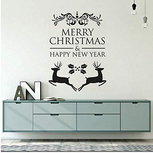 Qbbes 3D Kunst 60 * 84 Cm Frohe Weihnachten Wandaufkleber Milu Deer Vinyl Wandtattoo Abnehmbare Weihnachten Deer Wandbild Dekoration Urlaub Aufkleber (Urlaub Dekorationen Großhandel)