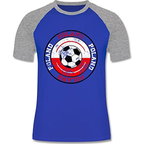 EM 2016 - Frankreich - Poland Kreis & Fußball Vintage - zweifarbiges Baseballshirt für Männer Royalblau/Grau meliert