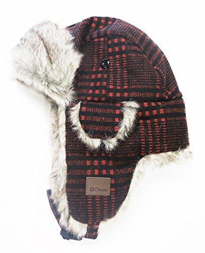 Mad Bomber Hat (Chaos Herren Muscle Wolle-Mischgewebe Trapper Hat, Herren, Orange Plaid, Unisex)
