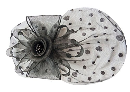 Damen Fascinators Haarclip Stirnband Kopfschmuck Schleier Blume Cocktail Headwear (Schwarz) (Alligator-shorts)