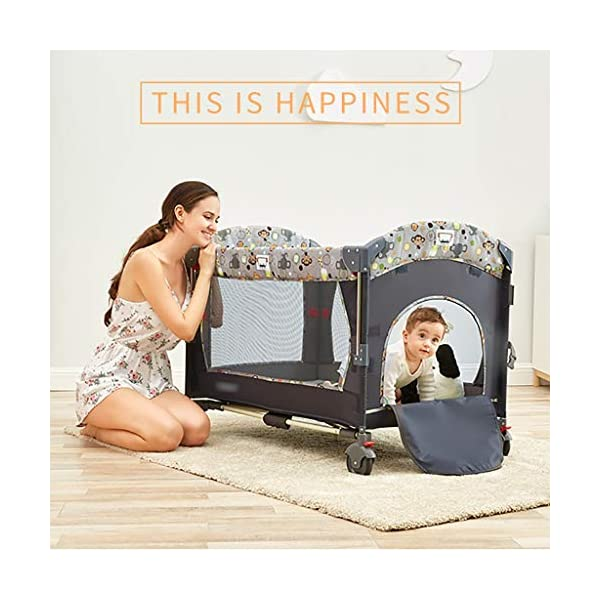 Hh001 Child Cot Child Bed Travel Cot Travel Cot With Mattress Included Child Crib Cot Mattress Folding Crib Cradle Bed Child Play Bed And Childlike Gifts (Color : DARK GRAY, Size : B)  【Crib material】: This baby crib has no paint, no formaldehyde, no harmful substances to the baby, and gives the baby a comfortable sleeping environment; the overall use of high-quality TD fabric is soft and comfortable; the corners are made of environmentally-friendly plastic materials. It is non-toxic and will not hurt the baby; the bracket is made of high-quality alloy material, which is durable and bears heavy weight. 【Crib Portable Design】: This crib has a folding design, easy to carry, travel, go to a friend's house to carry; there is a roller design under the bed, easy to move; when you are at home, if you do not need it, you It can be folded up without taking up space. 【Crib transparent mesh design】: The crib is surrounded by a transparent mesh design, which is not only refreshing and breathable, but also does not block your view, allowing you to observe your baby's every move while lying in bed. 4