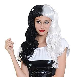 Bristol Novelty BW960 - Peluca para mujer, color negro y blanco