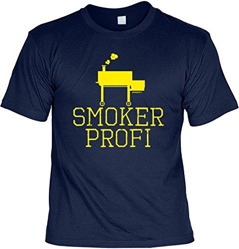 Grill/Spaß-Shirt/Fun-Shirt/Rubrik lustige Sprüche: Smoker Profi - geniales Geschenk Navyblau