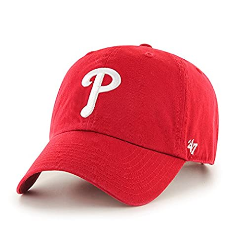 47 Unisex MLB Philidelphia Phillies Clean Up Baseball Cap, Red,