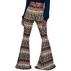 Pantalones Mujer Largos Golpear Los Pantalones Elegantes Cintura Alta Estampadas Etnica Estilo Vintage Joven Bastante Fashion Slim Fit Cómodo Pantalones Acampanados Women