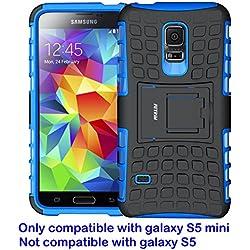 FETRIM Coque Galaxy S5 Mini,S5 Mini Coque, Armor Support Protection Étui,Anti Chocs Bumper Étui Hybride Protection Housse Cover pour Samsung Galaxy S5 Mini (Bleu)