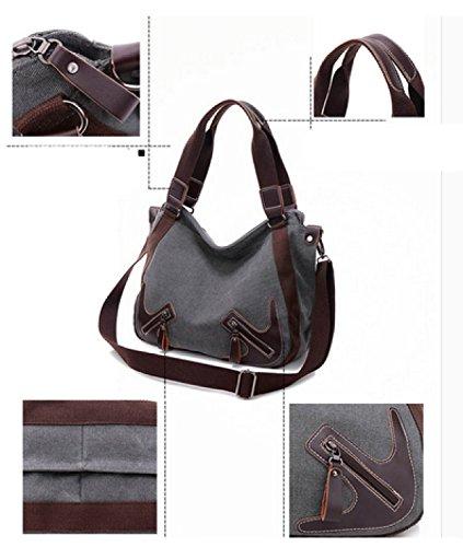 LAIDAYE Handtaschen Große Kapazität Handtasche Leinwand Reisetasche Schultertasche Messenger Bag Brown