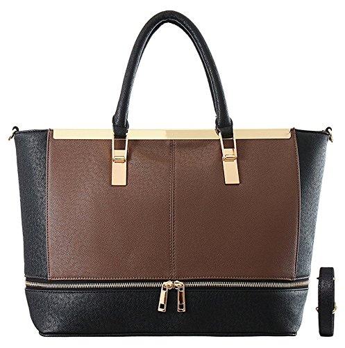 9b21af1d75275 CRAZYCHIC - Damen Große Handtasche mit Gold Platte Reißverschluss und  Pompom - Henkeltasche - Saffiano Leder