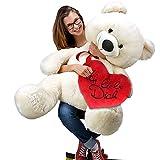 """Herzkissen """"Ich liebe Dich"""" 26 cm + Teddy Weiß XL"""