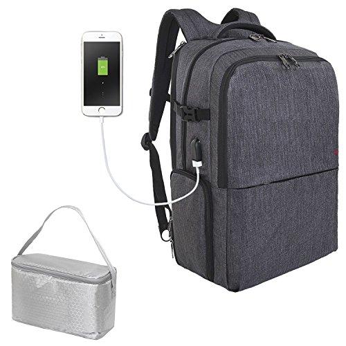 SLOTRA Zaino da Viaggio Picnic 17 pollici Zaino per PC Portatile con USB Scomparto Indipendente per Pranzo Borsa Sportiva Large Capacity, Grigio Scuro