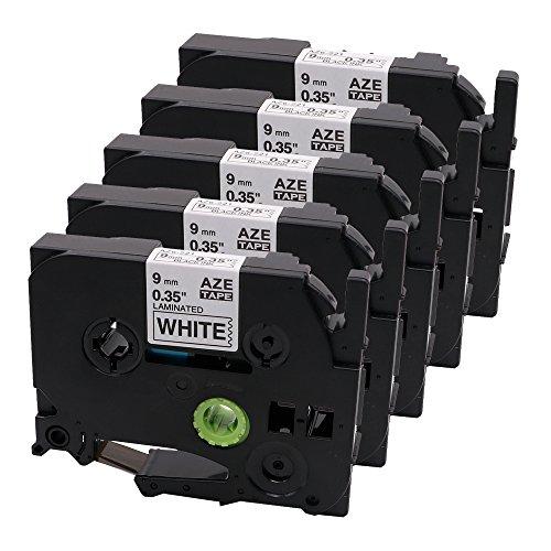 5x Schriftband für Brother TZe-221 TZE221 TZ221, schwarz auf weiß, 9mm x 8m Laminiert, Kompatibel mit Brother P-Touch PT-1000, -P700, -H100LB/R, -H105, -E100/VP, -D200/BW/VP, -D210/VP (Holz Farbig Laminiertes)