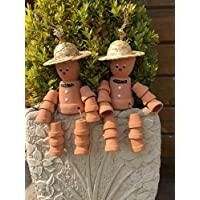 Hunky Dory Gifts Pair Cheeky Cheerful Flower Pot Men With Straw Hat Garden Decorative Ornament