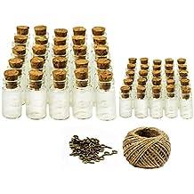 25piezas 1 ml + 25piezas 5 ml Mini Botellas de Cristal Botellas de Vidrio Con Tapón de Corcho Pequeños Frascos de Vidrio , 50 Piezas Tornillos de Ojo y ...