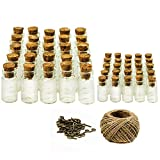 25 Stück 1ml + 25 Stück 5ml Kleine Mini-Glasfläschchen mit Korken, 50 Stück. Ösenschrauben und 30 Meter Bindfaden, Nachricht Flaschen