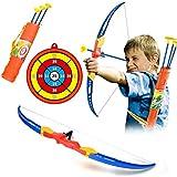 Mecotech Arcos y Flechas para Niños Juego de Disparos de Juguete con Establecer 1 Arco, 3 Flechas y 1 Objetivo, Portaflechas