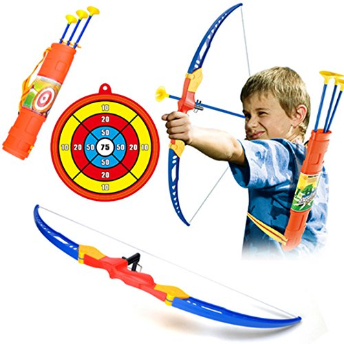 en Kinder Set Schießen Spielzeug Schießspiele Set 1er Bogen 3er Pfeil 1 Köcher und 1er Zielscheibe mit Stütze ab 3 Jahre - DE951C ()