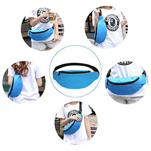 Wander-Hüfttaschen Wasserdicht Bauchtasche Jogging Tasche Gürteltasche mit Reissverschluss in 10 Farben By Sijueam Hellblau