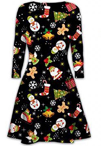 Womens Ladies Long Sleeves Olaf Santa Gifts Bells Gingerbread Christmas Xmas Printed Novelty Flared Swing Dress Top Plus Size