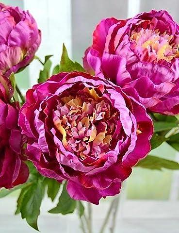 """Sucastle®,Mode Bouquet,fleurs artificielles soie artificielle mauve grands 2pcs de pivoine modernes / lot stem 29,5 """"d"""