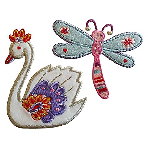 Swan 8x7cm Dragonfly 7x8cm iron-on designer patch
